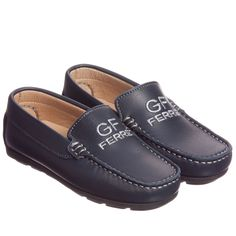 GF Ferre Boys Navy Blue Leather Shoes