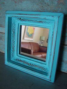 Turquoise Distressed Wood Frame Mirror $12 #shabbychic #upcycled #gift