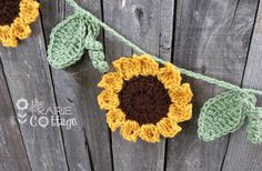 Sunflower Granny  | Crochet Sunflower Garland, Primitive Fall Mantel Garland, Rustic Fall ...
