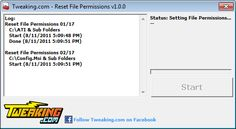 NEW VERSION!!! Tweaking.com - Reset File Permissions 2.5.1 (Click image to go to our download page.)     Fixes any problem where not having the right permissions to a file will cause things to break, such as windows updates and programs. (click image to read more) #software #mswindows