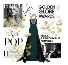 """The Lady Of POP"" by cricket0036 ❤ liked on Polyvore featuring Zac Posen, Rosantica, Rafé New York, Balmain, GoldenGlobes, LadyGaGa, goldenglobeawards, GGA and ladyofpop"