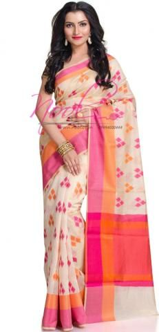 Chanderi Ikkat Printed Cotton Sarees Cream Thread Border BO150D762