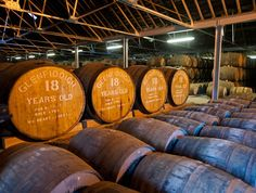 Barrels in a warehouse at the Glenfidditch distillery.
