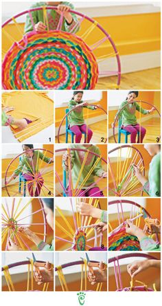Weaving with a hula hoop; use a stripped sheet or other cotton fabric strips; find a smaller hula hoop; cut notches for base strips to stay in place; No more hour-glass weaving projects! -use old T shirts Hula Hoop Tapis, Hula Hoop Rug, Hula Hoop Weaving, Straw Weaving, Weaving Loom For Kids, Pin Weaving, Finger Weaving, Kids Crafts, Crafts To Do