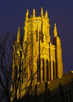 Marquette Hall's bell tower shines tonight at Marquette University.