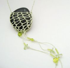 Necklace Rustic Stone Celery Green by PurpleToedGypsy on Etsy