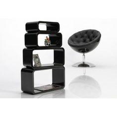 4pcs rectangular wooden retro design shelves in black floating shelving unit - www.neofurn.co.uk