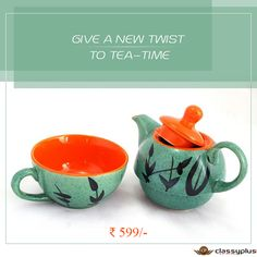 Give a new twist to Tea-Time. #TeaPotCup #CeramicTeaPot #HandcraftedCrockery #TeaTime #Gifts https://goo.gl/9MT5DW