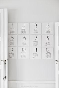 all 12 'date-sheets' from the LW Fine Art Calendar '15 | Handwriting by Sara Nbergman & Photography by Hannah Lemholt | © Lemholt N' Bergman / Love Warriors