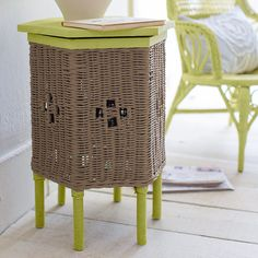 Wake up wicker with chalk-finish paint. Clean your furniture piece and mix up an easy recipe of paint - we used Valspar Light Avocado and City Chic.