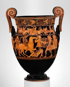 Attributed to the Painter of Woolly Satyrs (namepiece). Terracotta volute-krater (bowl for mixing wine and water), ca. 450 B.C. Greek. The Metropolitan Museum of Art, New York. Rogers Fund, 1907 (07.286.84) #OneMetManyWorlds