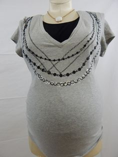 Grey & Black Short Sleeve Necklace Nursing Top-912