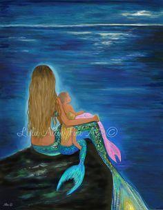 Mermaid Art Mermaid Print Painting Mother Daughters Sisters