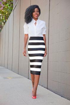 Stripe Skirt Outfits Ideas For Working Women Fashion Mode, Work Fashion, Fashion Looks, Womens Fashion, Skirt Fashion, Street Fashion, Fashion Outfits, Black Pencil Skirt Outfit, Pencil Skirt Outfits