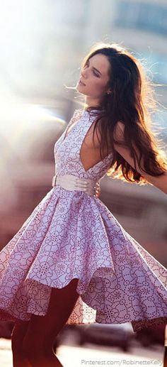 Street Style   Pink and White Swing Dress