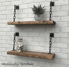 Rustic Handmade Solid Black Steel Chain Floating Shelves - Rustic Handmade Solid Steel Chain Shelves Solid Wood All Of Our Shelves Are Natural Solid Pine Every Rustic Shelf Made In Our Workshop Is Unique In Its Look Made From Hand Selected Reclaimed Tim Bespoke Furniture, Diy Furniture, Quality Furniture, Rustic Wood Furniture, Handmade Furniture, Luxury Furniture, Hanging Shelves, Floating Shelves, Wall Decor Design