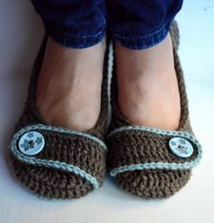 Crochet Slippers, Ballet Flats, House Shoes - Robin's Egg and Brown - Made to Order. $30.00, via Etsy.