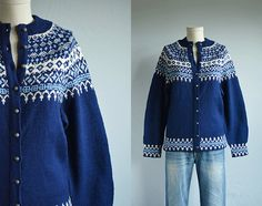 Vintage Norwegian Cardigan / 60s Hand Knit Wool Nordic Fair Isle Sweater Navy Blue Cream
