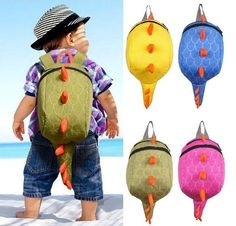Bag Material: Nylon Measurement: Approx 26 x 21 x 12cm Suitable for children age 1 - 4 years  A cheerful backpack with sturdy spines and happy taill! Your little boy or girl will love going to school each day with a cool new backpack. Perfect for trips and vacations too! There's plenty of room inside for snacks, toys, and other tiny essentials.   Dino Backpack for adults is available here >https://lovepluscotton.com/products/dino-backpack