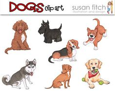 Dogs digital clip art set