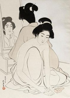 Hashiguchi Goyou (1880-1921) 橋口五葉 Two Women after bath, 1920