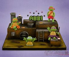 Adorable girlie Teenage Mutant Ninja Turtles Cake by Little Cherry Cake Company