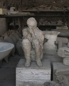 Death in Pompeii  Credit: vagabond54, Shutterstock  The eruption of Vesuvius buried the dead where they fell. After the bodies decomposed, they left human-shaped pockets in the hardened layers of ash. Pouring plaster in these pockets creates sculptures of death like this one.