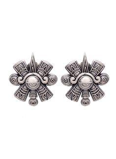 Ayushi Mittal | Silver Aztec Inspired Studs | Shop Earrings at strandofsilk.com