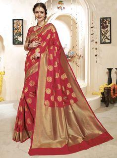 Red Banarasi Silk Saree With Blouse 124905