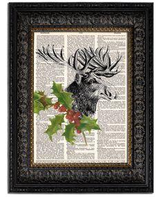 Holiday Home Decor CHRISTMAS MOOSE and HOLLY, 8x10, vintage dictionary art print. $10.00, via Etsy.