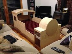 Woodworking Training - So I decided to build a Thomas Train bed for my son, who, like many boys his age, loooooves Thomas the train. Got my design inspiration from another train bed des. Train Bedroom, Thomas The Train, Bed Plans, Diy Bed, New Room, Bed Design, Kids Furniture, Kids Bedroom, Kids Rooms