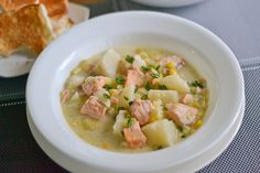 This salmon chowder recipe consists of chunks of salmon and leeks. The delicate and sweet flavor adds a subtle touch to this soup dish.