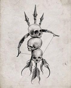 Armband Tattoo Design, Skull Tattoo Design, Tattoo Sleeve Designs, Skull Tattoos, Dark Drawings, Tattoo Drawings, Cool Drawings, Arrow Drawing, Hand Tattoos For Guys