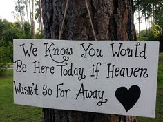We know you would be here today if heaven wasn't so far away - CUSTOM, PERSONALIZED, WEDDING, memorial signs on Etsy, $14.00