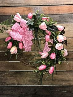 Beautiful pink Tulip wreath for your front door, Tulip Wreath, Spring Tulips, Pink Tulips, Summer Wreath, Front Door Wreath, Decorative Wreath, Spring Wreath, Home Decor