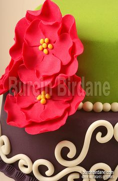 I like these simple flowers. Also neat to note the bottom edge. A strip of fondant around the base and then use one of the Wilton fondant tools to make those scallop impressions all the way around. Its a cute look.