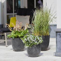 Bola Artstone Plant Pot - Black - 45 x 38cm