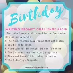 Birthday Writing Prompt Challenge 2018 » MadebyPernille