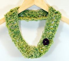 Banana Fiber Infinity Scarf with Vintage Button by WritingPlaces, $12.00