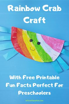 Learn how to make this easy rainbow crab craft for your preschooler today! Animal Crafts For Kids, Toddler Crafts, Preschool Crafts, Under The Sea Crafts, Crab Crafts, Turtle Crafts, Activities For Kids, Indoor Activities, Popular Crafts