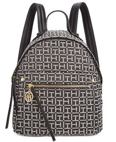 e3c460b2cc Tommy Hilfiger Tessa Monogram Jacquard Small Backpack Handbags    Accessories - Macy s