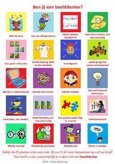 Welke/hoeveel kenmerken passen bij jou (of je kind)? Bij 11 of meer kan je ervan uitgaan dat jij de voorkeur hebt om in beelden te denken en informatie te verwerken.