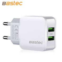Bastec Glow Light Port Smart EU 5V 2.4A Travel Dual USB Charger Adapter Portable Mobile Phone Charger for iPhone Samsung etc.