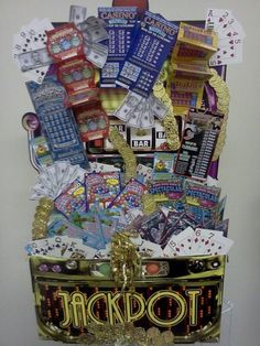 "JackPot!  This is our Best Seller  ""Great for Fundraisers....  This customized Lottery Scratch off basket stand 3ft High Full of Surprises and Scratch-off.  Email: theresagift@aol.com for your order today we ship anywhere in the USAuction Baskets, Fundraisers Baskets, Softball Fundraisers Ideas, Gift Baskets For Fundraisers, Baskets Stands, 720960 Pixel, 600 800 Pixel, Fundraisers Gift Baskets Ideas, 720 960 Pixel by Theresa F. Johnston"