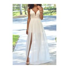 Rotita Open Back Sleeveless White Maxi Dress ($23) ❤ liked on Polyvore featuring dresses, white, lace dress, sleeveless maxi dress, white lace dress, v neck dress and sleeve maxi dress
