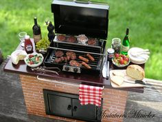 Dollhouse Barbecue Grill Island Ready For The by Minicler on Etsy