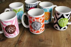 LOVE these personalized coffee mugs in all sorts of fun designs!