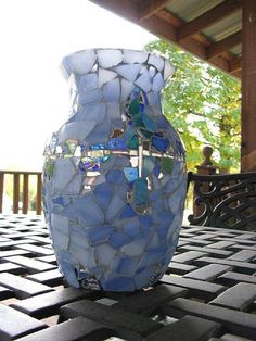 Mosaic Vase Light Blue with mirror - Handmade w Stained Glass and Mirror - Cottage, Shabby, or Beach decor.$35.00, via Etsy. @Wes Cook