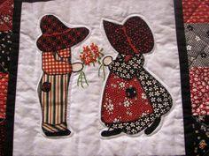 sweet block of Sun Bonnet Sue and farmer Sam