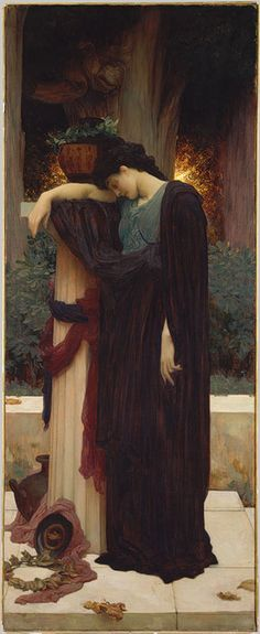 """Lord Frederic Leighton (English, 1830–1896), Lachrymae (Mary Lloyd), ca. 1894–95. Lachrymae, the title chosen by the artist, is the Latin word for """"tears."""" Every aspect of the composition emphasizes the subject, from the fading sunset to the cypress trees (traditional symbols of death, because once cut, they do not regenerate) and laurel bushes (like cypress, laurel is evergreen and, thus, a symbol of immortality)."""